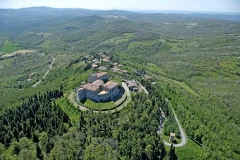 Aerial view from the north of the castle and old olive mill - Castello di Montegiove in Umbria near Orvieto
