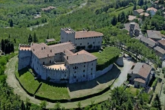 Aerial view of the castle and old olive mill - Castello di Montegiove in Umbria near Orvieto