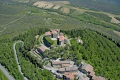 Aerial view of the castle Castello di Montegiove and village in Umbria near Orvieto