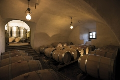 Barrel raging of wine in the centuries old cellars of Castello di Montegiove in Umbria near Orvieto