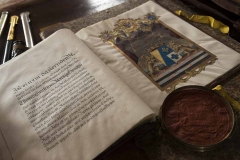 old books from the historical archives of Castello di Montegiove in Umbria near Orvieto